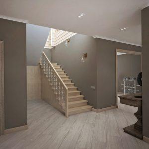 Лестница на бетонном основании с металлическим ограждением